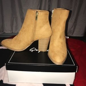 Brand new, never worn Qupid heeled boots
